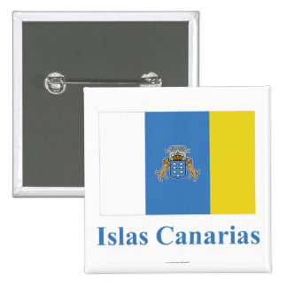 Canary Islands Flag with Name in Spanish Button