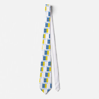 Canary Islands Flag with Name in Spanish Neck Tie