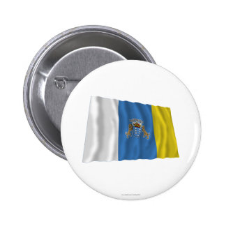 Canary Islands Waving Flag Pinback Button