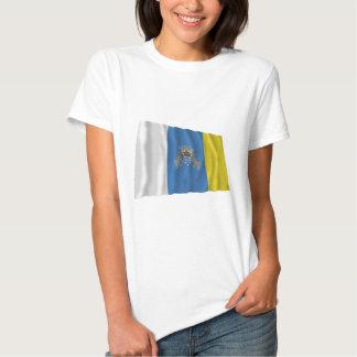 Canary Islands Waving Flag T Shirt