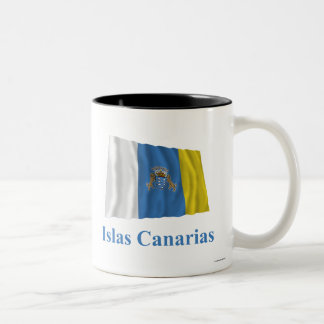 Canary Islands Waving Flag with Name in Spanish Mugs