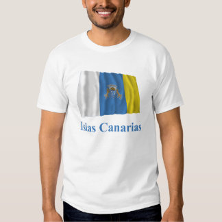 Canary Islands Waving Flag with Name in Spanish T Shirt