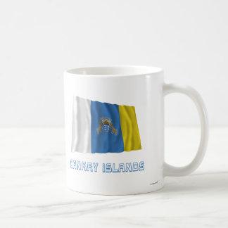 Canary Islands Waving Flag with Name Coffee Mugs
