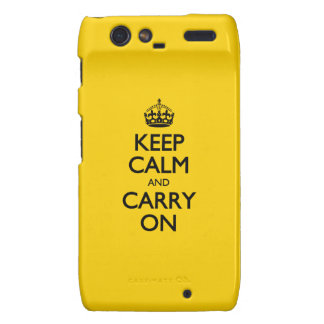 Canary Keep Calm And Carry On Droid RAZR Covers