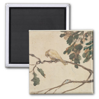 Canary on an Oak Tree Branch 2 Inch Square Magnet