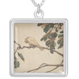 Canary on an Oak Tree Branch Silver Plated Necklace