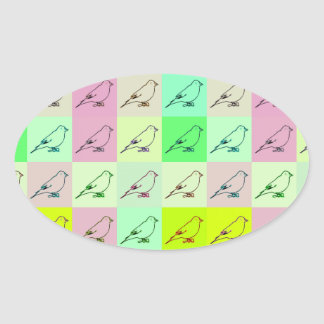 Canary Pop Art Oval Stickers