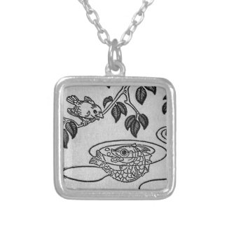 Canary Speaks to Fish in Lake Illustration Silver Plated Necklace