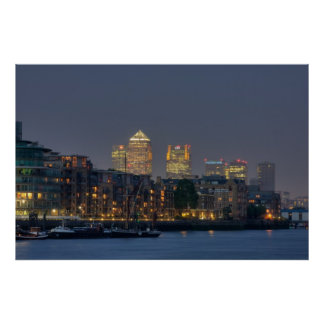 Canary Wharf and Docklands at Dusk Poster
