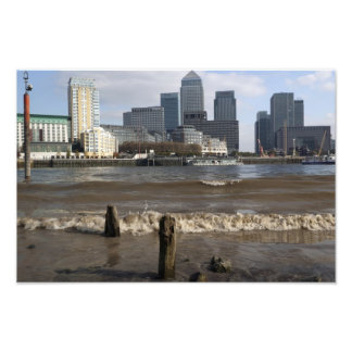 Canary Wharf from the Thames beach at Rotherhithe Photo Print