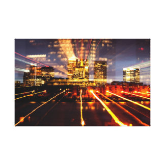 Canary Wharf Lights Stretched Canvas Prints