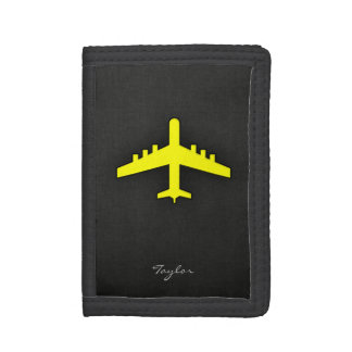Canary Yellow Airplane Trifold Wallets