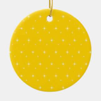 Canary Yellow And Bright Stars Pattern Double-Sided Ceramic Round Christmas Ornament