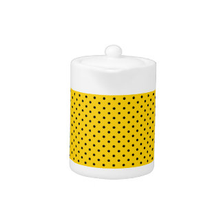 Canary Yellow And Small Black Polka Dots Pattern