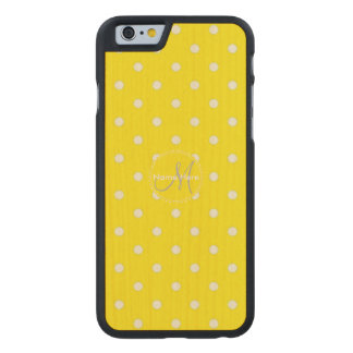 Canary Yellow And White Polka Dots. Custom Name Carved Maple iPhone 6 Slim Case
