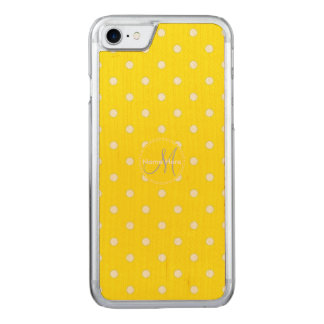 Canary Yellow And White Polka Dots. Name Carved iPhone 8/7 Case