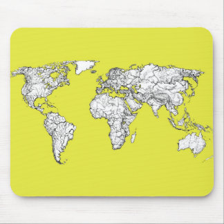 canary yellow atlas world map mousepad