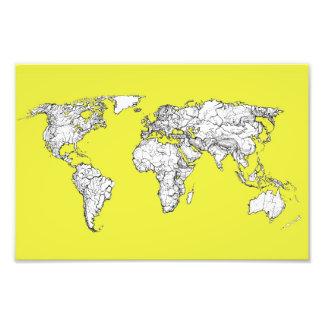 canary yellow atlas world map art photo