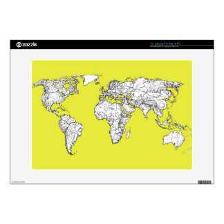"""canary yellow atlas world map skins for 15"""" laptops"""