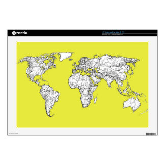 canary yellow atlas world map decal for laptop