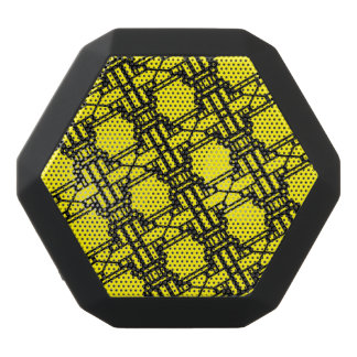 Canary Yellow & Black Bold Medieval Style Pattern Black Bluetooth Speaker