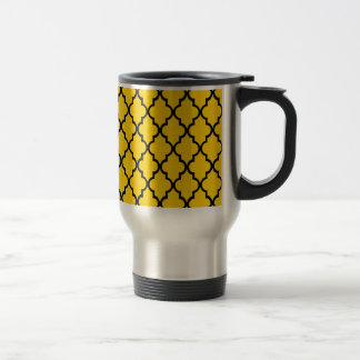 Canary Yellow & Black Maroccan Trellis. Quatrefoil 15 Oz Stainless Steel Travel Mug