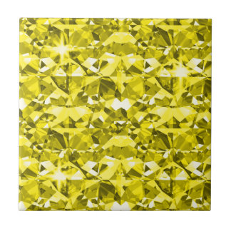 Canary Yellow Diamonds Ceramic Tile