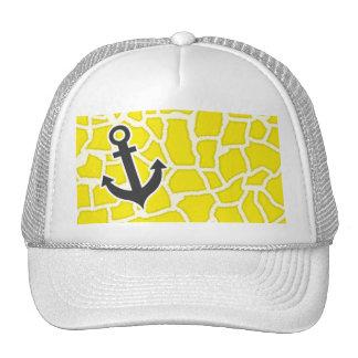 Canary Yellow Giraffe Animal Print; Anchor Hat