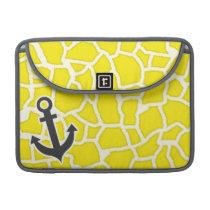 Canary Yellow Giraffe Animal Print; Anchor MacBook Pro Sleeve