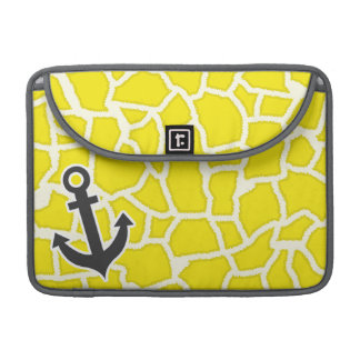 Canary Yellow Giraffe Animal Print; Anchor MacBook Pro Sleeve