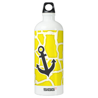 Canary Yellow Giraffe Animal Print; Anchor Water Bottle