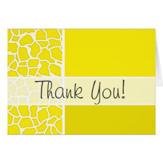 Canary Yellow Giraffe Animal Print Stationery Note Card