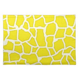 Canary Yellow Giraffe Animal Print Place Mat