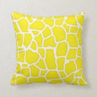 Canary Yellow Giraffe Animal Print Throw Pillows