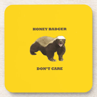 Canary Yellow Honey Badger Don't Care Pattern Drink Coaster