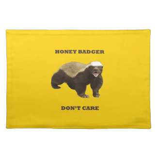Canary Yellow Honey Badger Don't Care Pattern Placemats