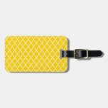 Canary Yellow Maroccan Trellis - Quatrefoil Clover Luggage Tags