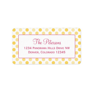 Canary Yellow Polka Dot Return Address Labels