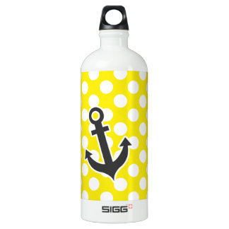 Canary Yellow Polka Dots; Anchor Aluminum Water Bottle