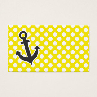 Canary Yellow Polka Dots; Anchor Business Card