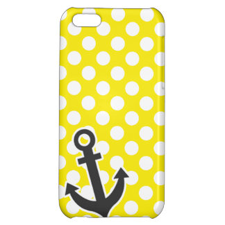 Canary Yellow Polka Dots; Anchor Case For iPhone 5C