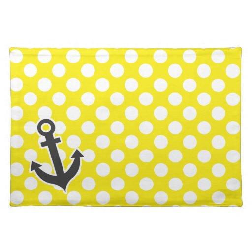 Canary Yellow Polka Dots; Anchor Place Mat