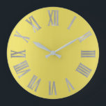 """Canary Yellow Silver Gray  Metallic Roman Numers Large Clock<br><div class=""""desc"""">Unique minimal and decorative  Corresponds to actual fashion trend in home decor. You can change the shape and color of the hand.</div>"""