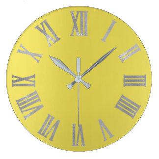 Canary Yellow Silver Gray  Metallic Roman Numers Large Clock