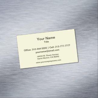 Canary Yellow Solid Color Magnetic Business Card