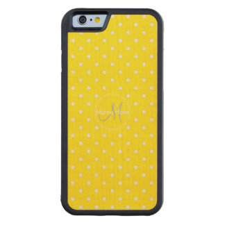 Canary Yellow & White Polka Dots. Custom Name Carved Maple iPhone 6 Bumper Case