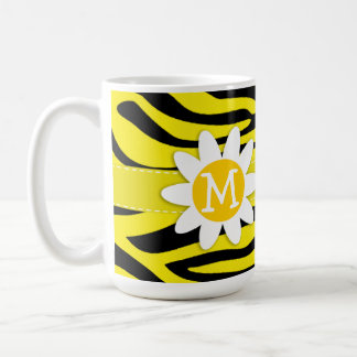 Canary Yellow Zebra Print; Daisy Coffee Mug