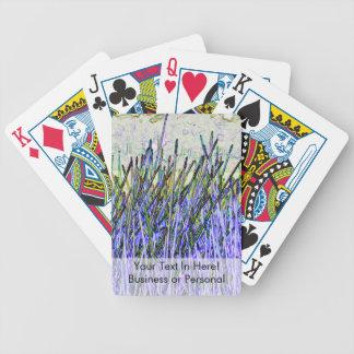 Cañas abstractas en colores púrpuras y blancos baraja de cartas
