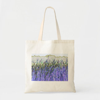 Cañas abstractas en colores púrpuras y blancos bolsa de mano