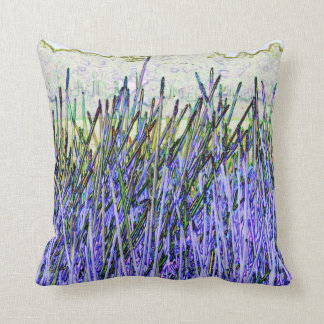 Cañas abstractas en colores púrpuras y blancos almohada
